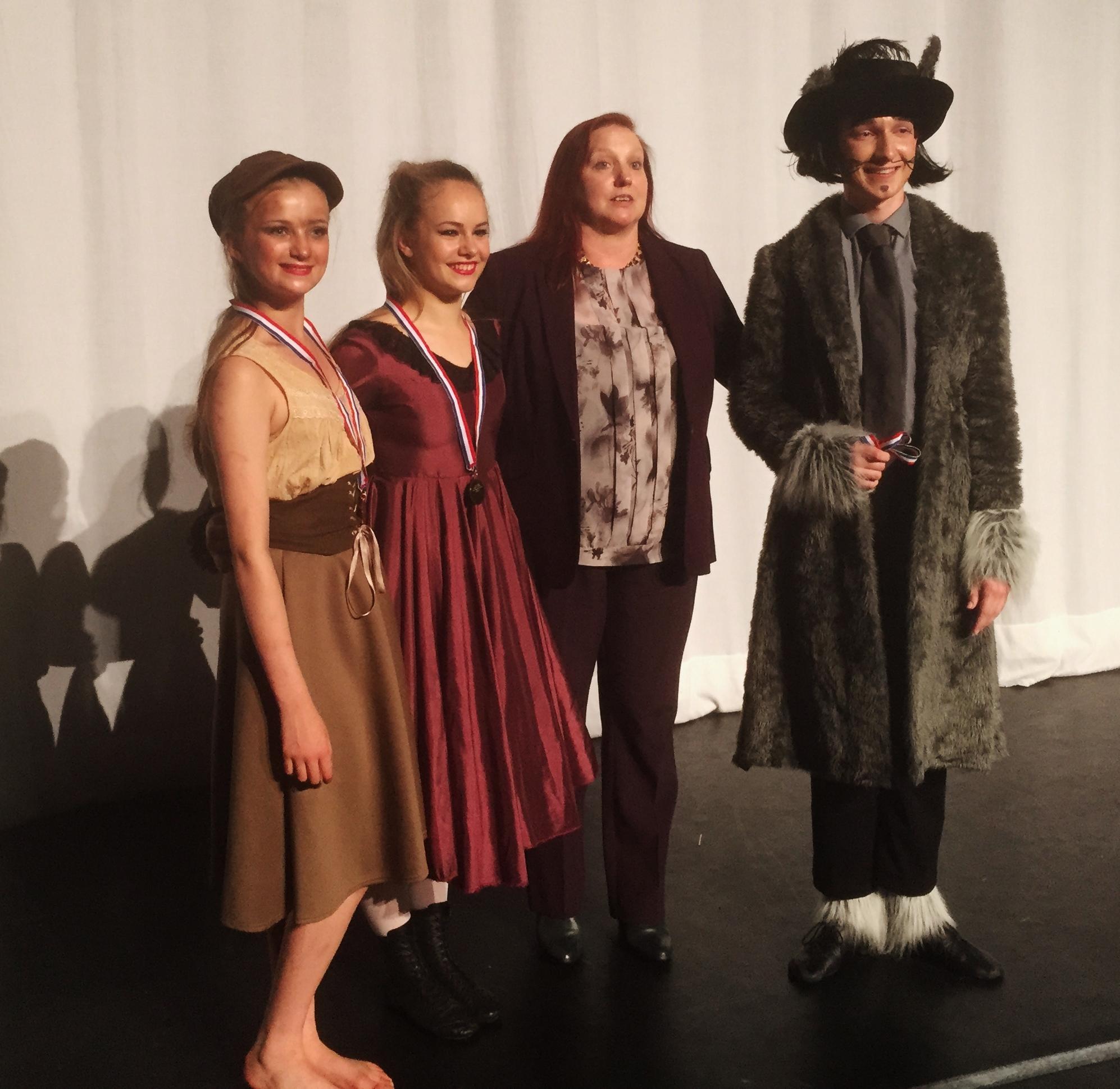 Senior Song and Dance Champions Emily Gardiner (centre) Winner, Thomas Matthews (right) Runner Up